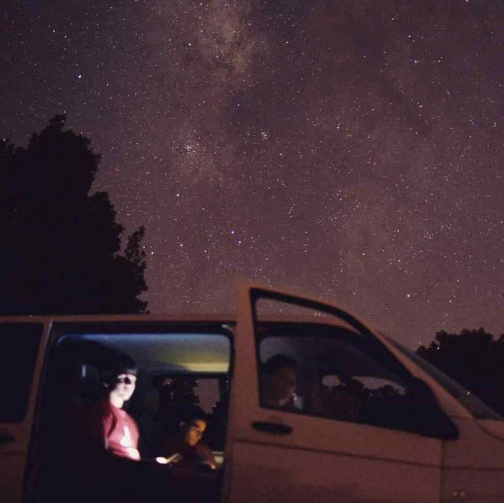 Bajo la Via Lactea, Under of Milky Way. Teide and stars, Teide y estrellas. Gregorios wanderfamily Tenerife. Hiking in Tenerife