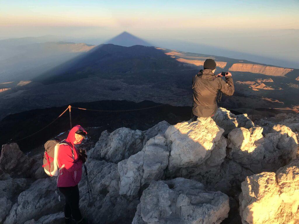 Teide top shadow Gregorios trekking Tenerife