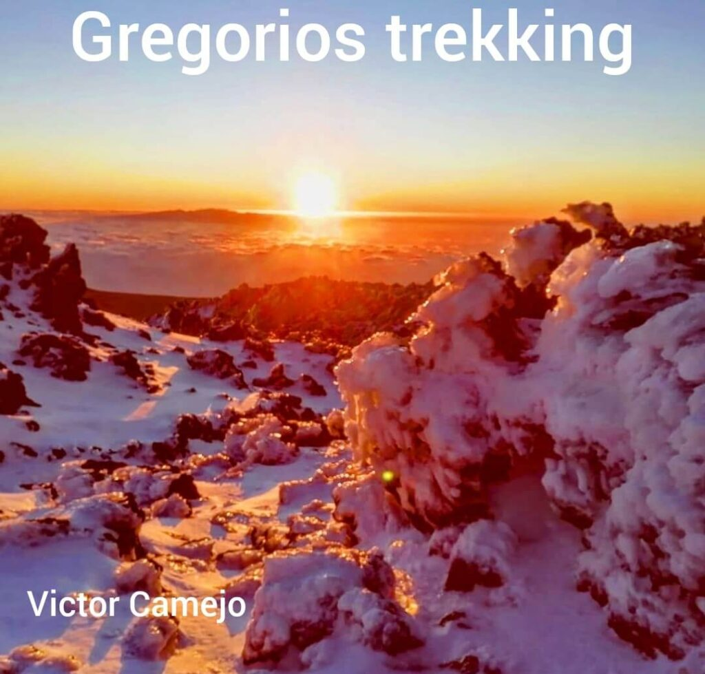 Teide top sunrise with snow. Gregorios trekking Tenerife